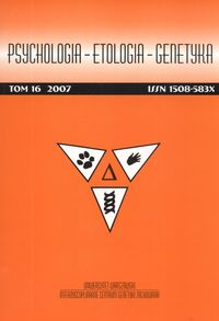 Psychologia Etologia Genetyka Tom 36/2017
