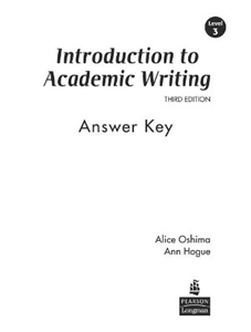 Introduction to academic writing answer key