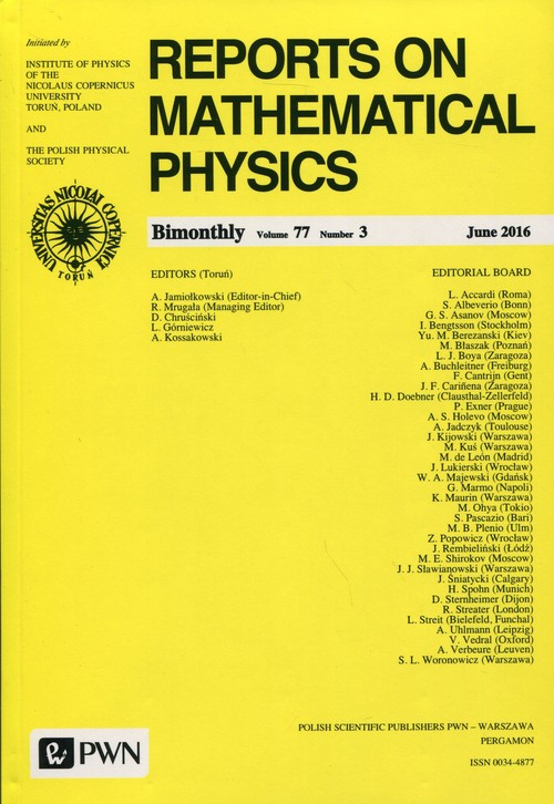 Reports on Mathematical Physics 77/3 2016 Kraj - dostawa od 3,49 PLN - brak