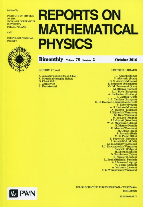 Reports on Mathematical Physics 78/2 2016 Kraj
