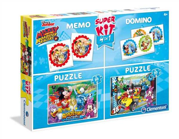 SuperKit 4w1. 2X30 Puzzle + Memo + Domino. Mickey and the Roadster Racers